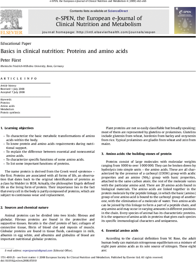 Basics in clinical nutrition proteins and amino acids european e first page of article to characterize the basic metabolic transformations of amino acids within the body fandeluxe Images